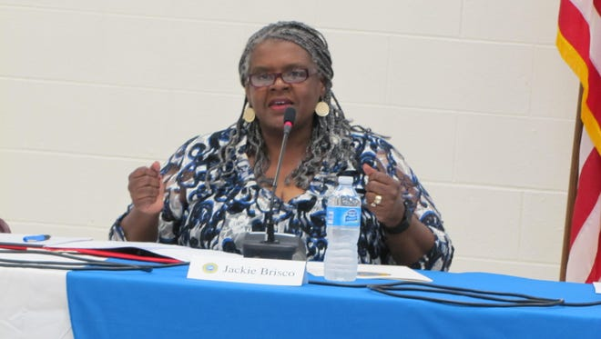 Jackie Brisco, speaking during a candidates forum Thursday, was appointed to the Cape Henlopen school board.