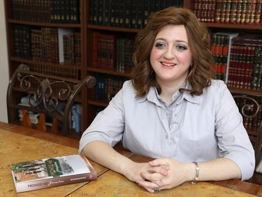 Chany Rosengarten, 30, talks about her first novel, Promise Me Jerusalem, at her home in Monsey April 10, 2018. Rosengarten, a Hasidic Orthodox Jewish woman, grew up in the Hasidic community of New Square.