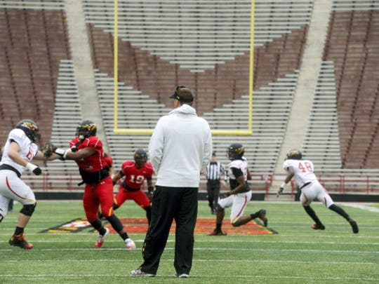 Maryland head football coach and Susquehannock high school graduate Randy Edsall looks on during an intersquad scrimmage at Byrd Stadium in April. This fall, he'll lead the program in its move to the Big Ten.