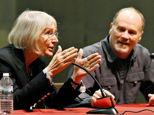 Eugenie C. Scott, left, and Ken Miller lead a discussion about what might have happened if the intelligent design case had been decided differently Thursday at York College.