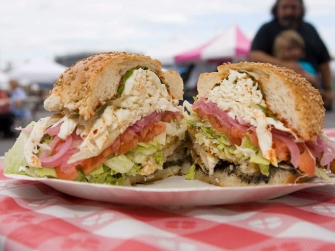 And larger servings like this sandwich with fresh toppings. Eat with a view of New York City across the water.