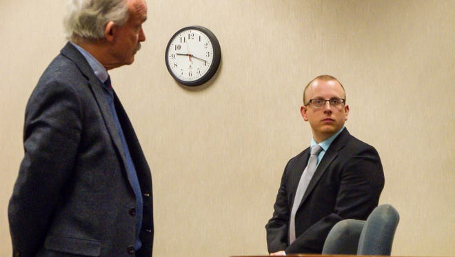 William H. Savaria, 30, right, appears in Vermont Superior Court in Burlington with his lawyer, E.M. Allen, on Wednesday, Feb. 24, 2016.