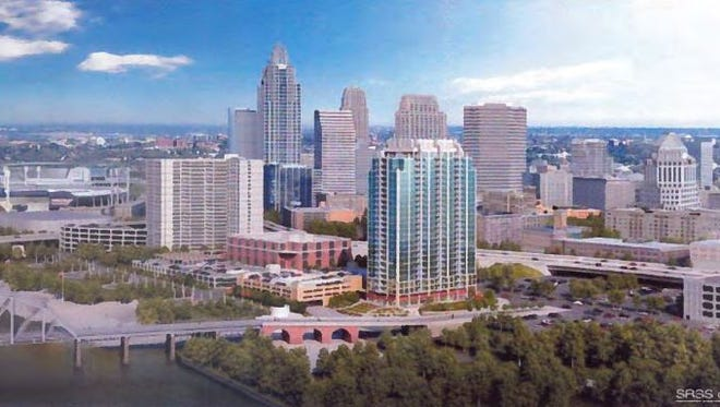 A rendering of the proposed SkyHouse project planned in Downtown Cincinnati.