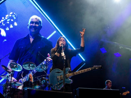 Foo Fighters performing live at Wells Fargo Arena.