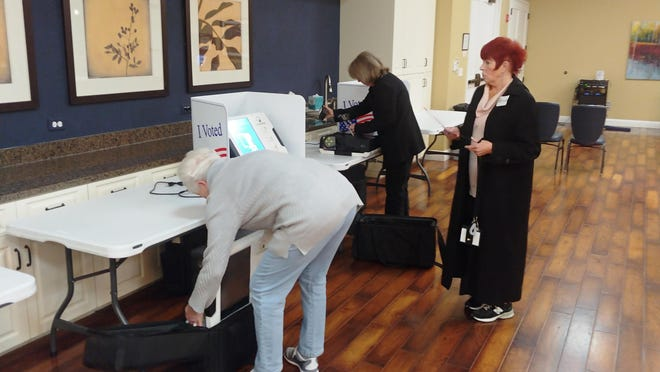 Volunteers at a Sun City precinct follow a prompt used to collect votes after polls closed during a recent election.
