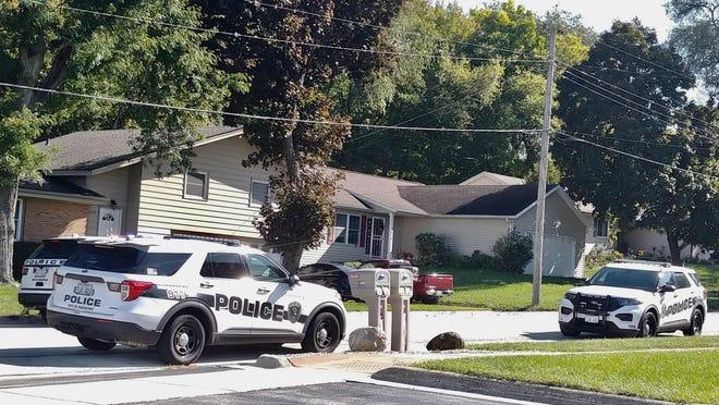 Multiple Rockford police SUVs are positioned along Toft Street on Sunday, Oct. 4, 2020, in Rockford.