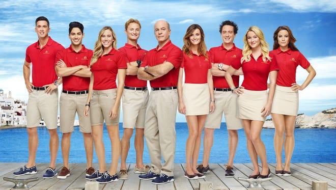 "Bobby Giancola, left, Danny Zureikat, Jen Riservato, Bryan Kattenburg, Mark Howard, Tiffany Copeland, Ben Robinson, Hannah Ferrier, Julia D'Albert-Pusey star in ""Below Deck: Mediterranean"" on Bravo."