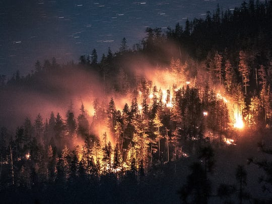 A number of small wildfires are burning in southwest Oregon following a lightning storm Sunday.