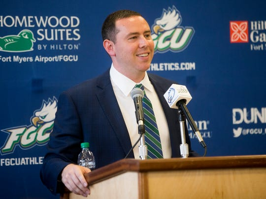 Long-time assistant coach Michael Fly speaks after officially being promoted to lead the team as its new head coach during a public press conference at Alico Arena's Hospitality Suite Thursday, April 5, 2018 in Fort Myers.