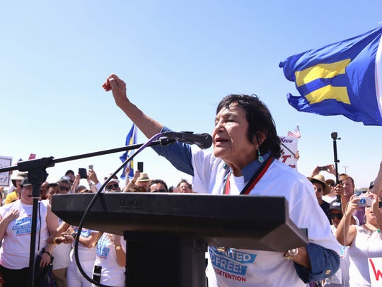 Civil Rights leader Dolores Huerta speaks at the #EndFamilyDetention