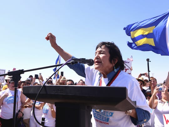 Civil Rights leader Dolores Huerta speaks at the #EndFamilyDetention rally  on Sunday, June 24, at the Tornillo port of entry.