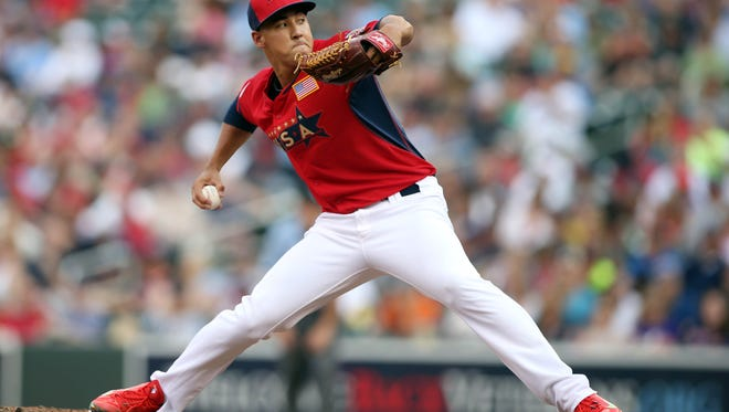 Jul 13, 2014; Minneapolis, MN, USA; USA pitcher Robert Stephenson throws a pitch in the 8th inning during the All Star Futures Game at Target Field. Mandatory Credit: Jerry Lai-USA TODAY Sports
