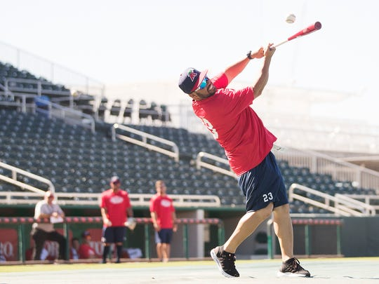The Fort Myers Miracle manager Ramon Borrego leads practice on Wednesday at Hammond Stadium in Fort Myers.