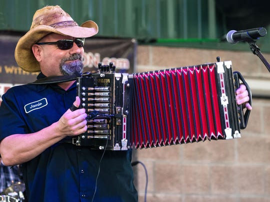 Jamie Bergeron entertains the crowd at the KBON Festival, held in October at the Rayne Civic Center Pavilion.