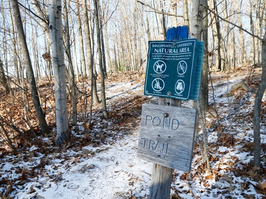 The entrance to the Pond Trail in the Binghamton University Nature Preserve on Wednesday, December 13, 2017.