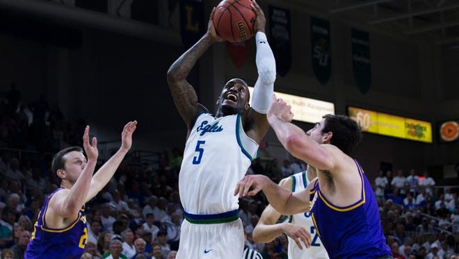 Florida Gulf Coast University guard Zach Johnson (5) has announced he will transfer to the University of Miami and play next season after he graduates this summer.