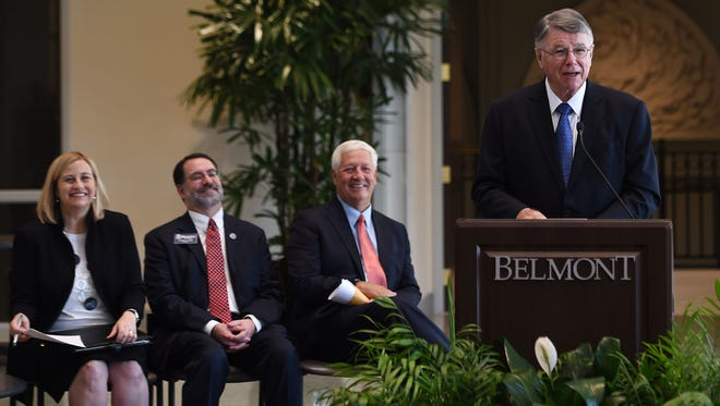 Mayor-elect Megan Barry, left, Belmont University Provost Thomas Burns and  Belmont University President Bob Fisher were at the Belmont announcement in September 2015 that former Metro Schools Director Jesse Register will join the faculty this fall as distinguished professor of educational leadership, a newly created position.