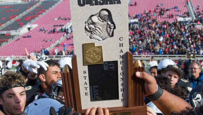 Desert Hills High snags a 28-27 victory over Pine View in final play of the football state championship game at the University of Utah Friday, Nov. 18, 2016. After winning two of the past four state titles, the Thunder are ready to defend their crown.