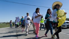 Immigration rights demonstrators march 37 miles from