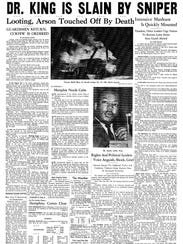 The Commercial Appeal's front page on April 5, 1968