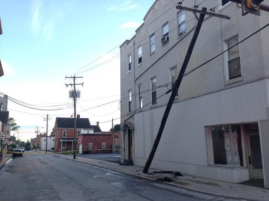 Police closed part of Carlisle Street in Hanover on Monday evening after a tractor-trailer reportedly hit a pole.