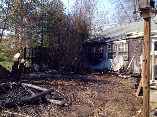 Crews responded to a fire in Tyrone Township on April 13. Homeowner said bamboo next to a house on Heidlersburg Road sustained damage. (Clare Becker -- The Evening Sun)