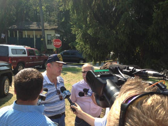 Police Chief Bruce Harris talks to the media with information about the double shooting in Mt. Gretna on Labor Day.