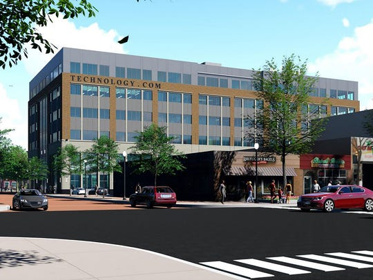 This artist's rendering shows the new look for downtown Royal Oak, including a mid-rise office tower to be built on the parking lot in front of the current Royal Oak City Hall.