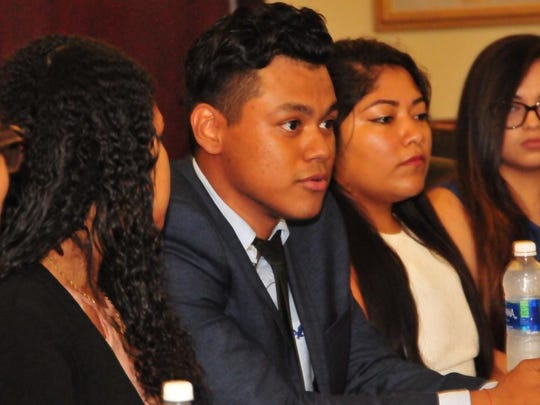 DSU students in the Deferred Action for Childhood Arrivals program talk during a panel discussion at the school.