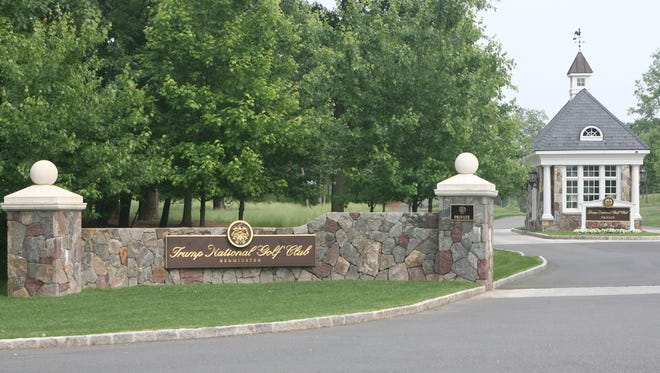 The entrance to Trump National Golf Club.