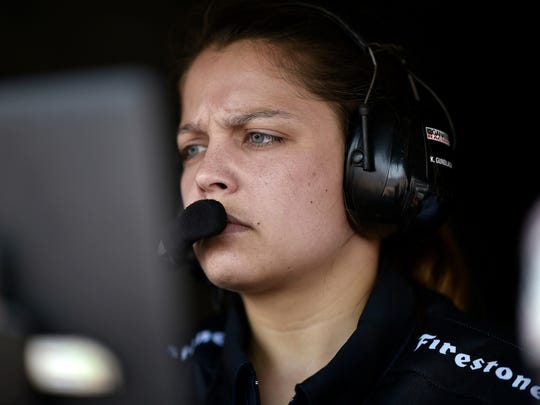 Scott Dixon engineer Kate Gundlach looks on during the Verizon IndyCar Series race in St. Petersburg, Fla.