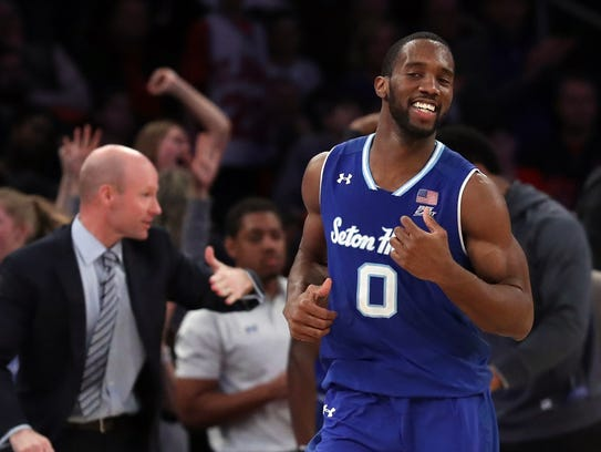 Seton Hall Pirates guard Khadeen Carrington (0) celebrates
