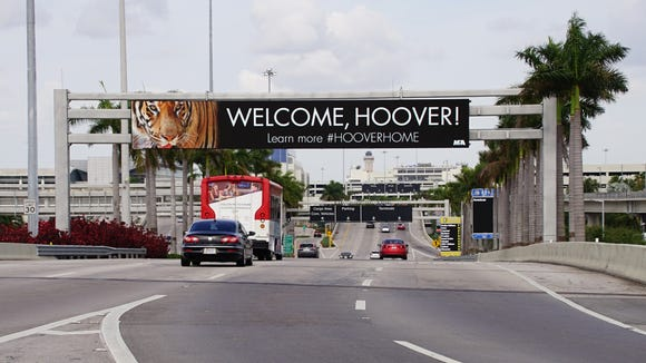 MIA has put Hoover's image on a sign at the airport