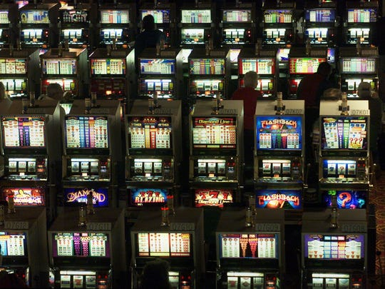 Gaming machines at Prairie Meadows Racetrack and Casino.