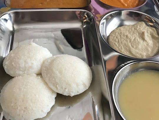 One platter at Maya's South Indian Cuisine offers three