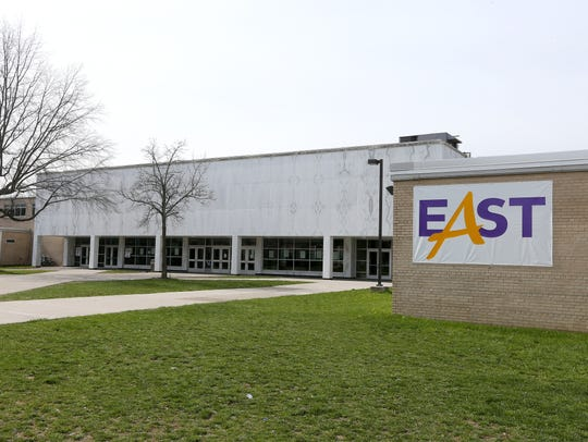 An exterior of East High School.