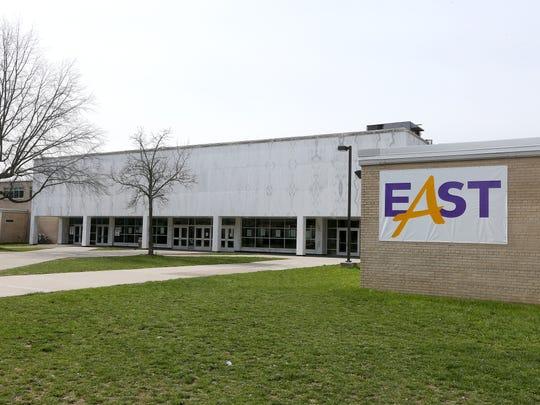 An exterior of East High School.