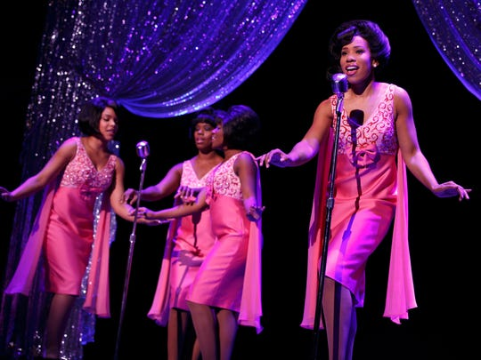 """Lexington native Rebecca E Covington, second from left, who was in the production of """"Beautiful – the Carole King Musical,"""" along with Traci Elaine Lee on the left and Rosharra Francis and Salisha Thomas on the right singing as The Shirelles."""