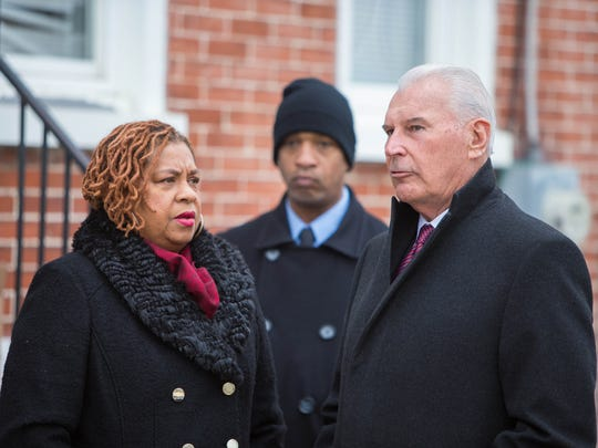 Wilmington City Council President, Hanifa Shabazz and Wilmington Mayor Michael Purzycki, gather at a press conference where long vacant buildings at 50 and 52 East 22nd Street were demolished Monday morning to make way for affordable housing for first-time homeowners.