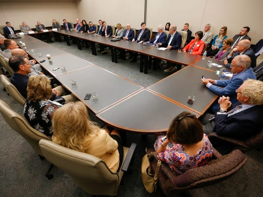 A large group of local business owners and officials filled the meeting room during a listening session with Missouri Governor Mike Parson at the Springfield Chamber of Commerce on Tuesday, June 12, 2018.