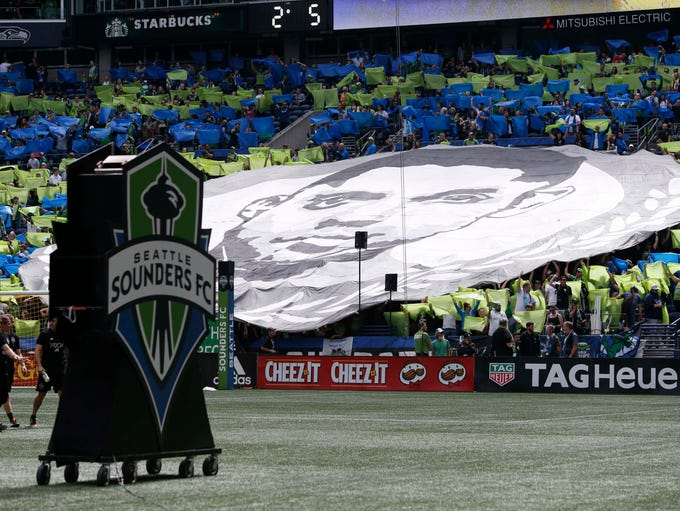 Sept. 1, 2018: Seattle Sounders FC fans hold up a tifo
