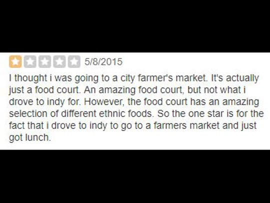 Yelp review of Indianapolis City Market.