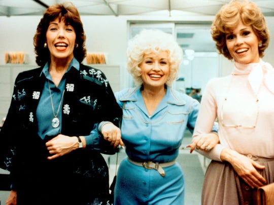 "Violet (Lily Tomlin, from left), Doralee (Dolly Parton) and Judy (Jane Fonda) have to fight off sexual harassment and discrimination in 1980's ""9 to 5."""