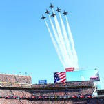 Jets fly over at the start of Super Bowl 50 in Santa Clara, Calif.
