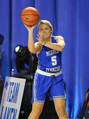 MTSU senior guard Abbey Sissom takes a shot during