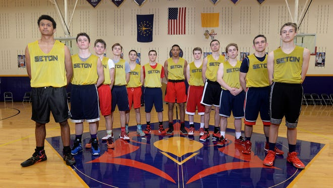Seton Catholic High School basketball players at practice Tuesday, March 8, 2016 in Richmond.