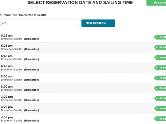 A screenshot of Kitsap Transit's website from Dec. 1, when customers discovered a problem with the reservation system.