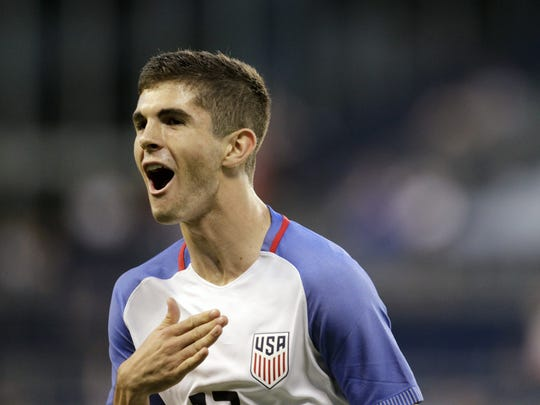 U.S. forward Christian Pulisic, 17, of Hershey, reacts after scoring against Bolivia during an international soccer match in May. U.S. forward Christian Pulisic, 17, of Hershey reacts after scoring against Bolivia during the second half of an international friendly soccer match, Saturday, May. 28, 2016, in Kansas City, Kan.