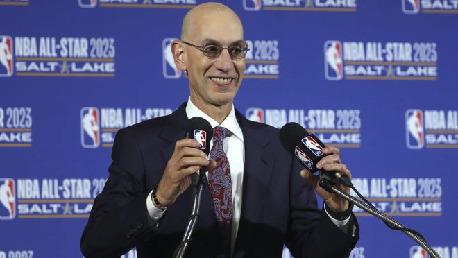NBA Commissioner Adam Silver speaks during a news conference last season.