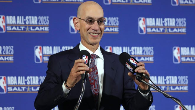 FILE - In this Oct. 23, 2019, file photo, NBA Commissioner Adam Silver speaks during a news conference at Vivint Smart Home Arena in Salt Lake City. The NBA has given teams a more definitive timetable for the restart to the pandemic-interrupted season.